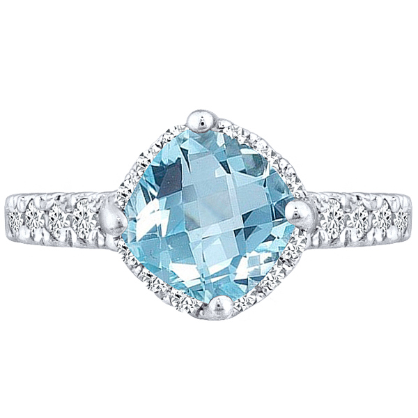 Ring Solitaire Aquamarine Cushion & Diamond Round Ring 2.55 tcw 10k White Gold