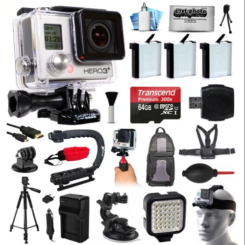 GoPro HERO3+ Hero 3+ Black Camera Camcorder Bundle with 64GB MicroSD + 3x Battery + Charger + Backpack + Chest Harness + Stabilizer + Tripod + Car Suction Cup Mount + LED Video Light (CHDHX-302)