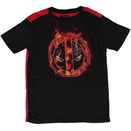 Deadpool T Shirts (Deadpool (Marvel) Moisture Wicking  Mens T-Shirt - Flaming Deadpool)