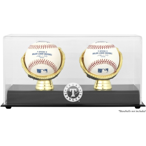 Texas Rangers Fanatics Authentic Gold Glove Double Baseball Logo Display Case - No Size