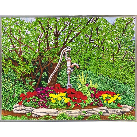 "The Old Rusty Pump-THEWIN78685 Print 5.25""x7"" by Thelma Winter in a Silver Metal Frame"