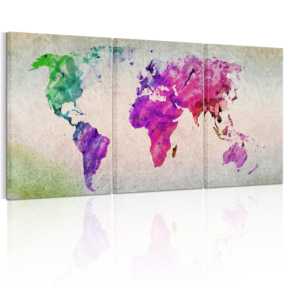 Modern Framed Ready To Hang HD Canvas Prints Picture Wall Art Painting World Map