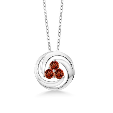 Garnet Circle Pendant (1.11 Ct Round Red Garnet 925 Sterling Silver Circle Round Pendant With Chain)
