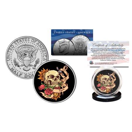 SKULL Tattoo Roses Official Legal Tender JFK Kennedy Half Dollar U.S. - Skull Rose Tattoo