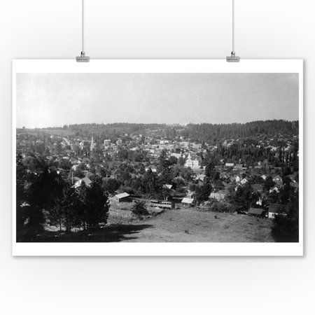 Grass Valley, California - Aerial View of the City (9x12 Art Print, Wall Decor Travel