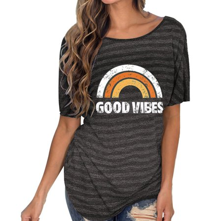 TURNTABLE LAB 2019 New Fashion Women Letter Rainbow Printed T Shirts Backless Sexy Loose Tops