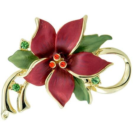 Fantasyard Red Christmas Star Poinsettia Flower Crystal Pin Brooch and Pendant