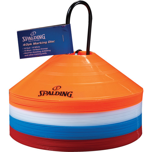 Spalding Flat Cones, Orange/White/Blue/Red, 40-Pack