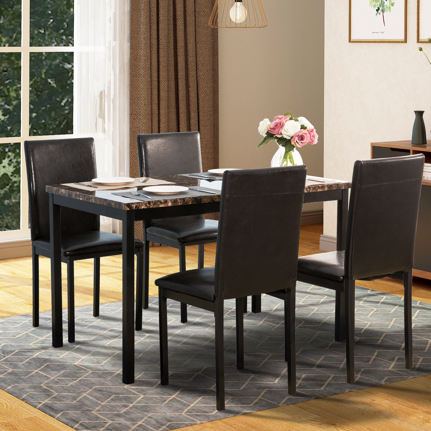 Harper & Bright Designs 5-Piece Faux Marble and PU Leather Dining Set -  Walmart.com