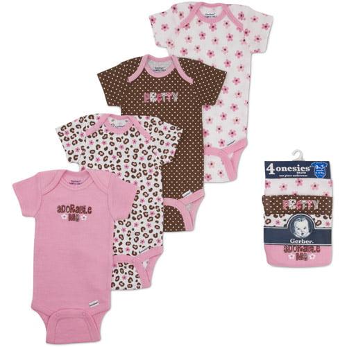 Gerber Onesies Brand Newborn Girl 4-Pack Assorted Short Sleeve One-Piece Underwear