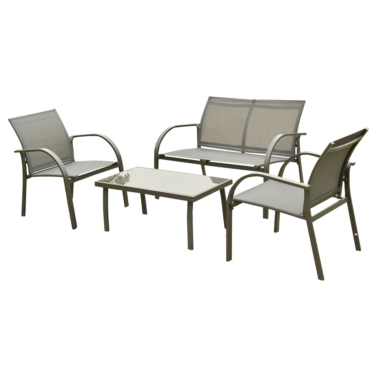 costway 4pcs patio garden furniture set steel frame outdoor lawn sofa chairs table gray walmartcom - Garden Furniture Steel