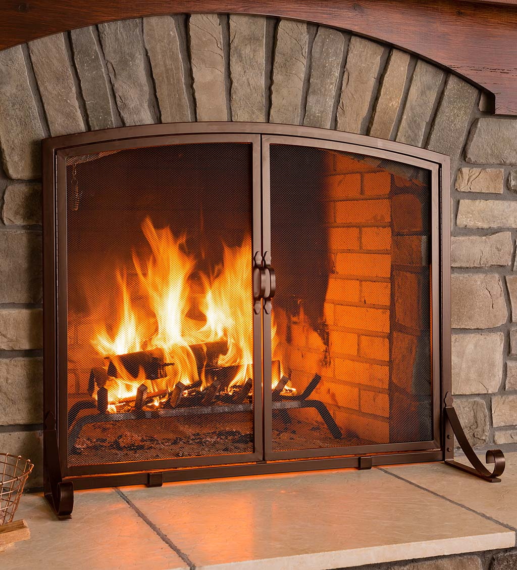 Arched Top Flat Guard Fireplace Screen with Doors, Small