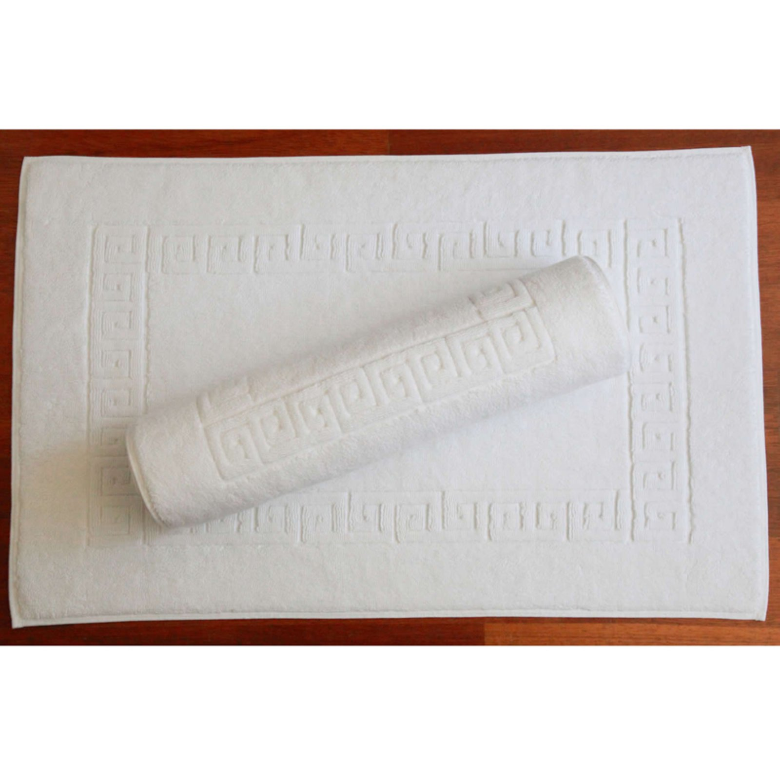 Luxury Hotel & Spa Greek Key Turkish Cotton Bath Mats - Set of 2