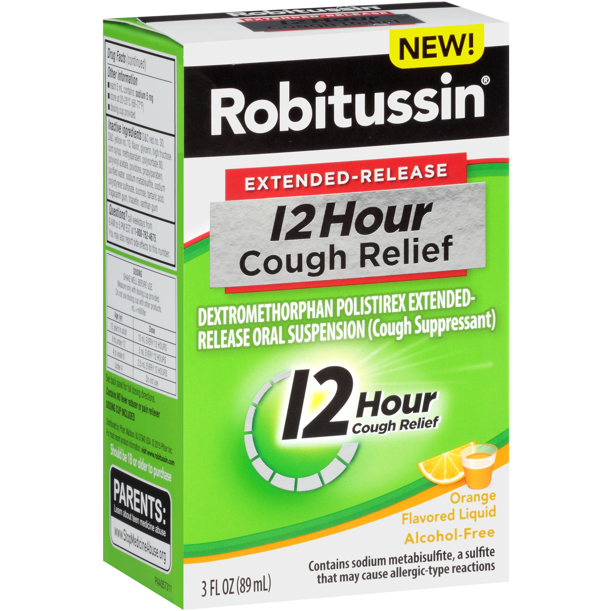 Robitussin Extended-Release 12-Hour Cough Relief Cough Suppressant Liquid in Orange Flavor 3 fl oz