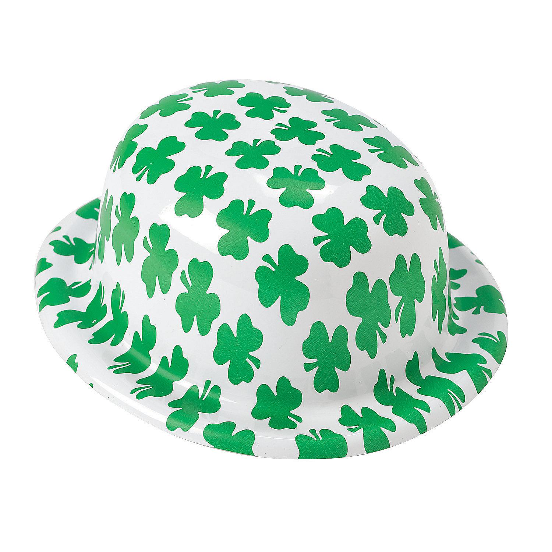 IN-25/1138 Shamrock Print Derby Hats Per Dozen