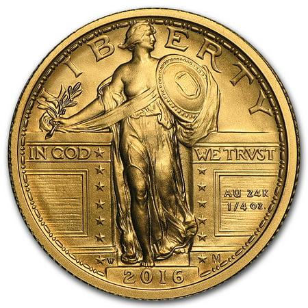Gold Plated Commemorative Coin - 2016-W 1/4 oz Gold Standing Liberty Quarter Centennial (w/OGP)