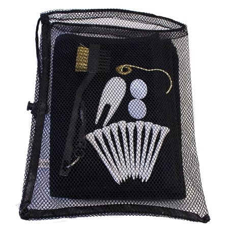 Golf Utility Kit by JP Lann (Includes: Towel, Tees, Ball Markers, Divot Tool & Utility Scrub Brush)