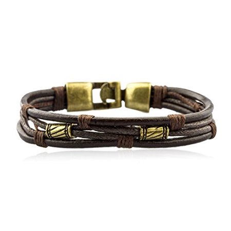 Mens Vintage Leather Wrap Wrist Band Brown Rope Bracelet Brown Leather Band Bracelet