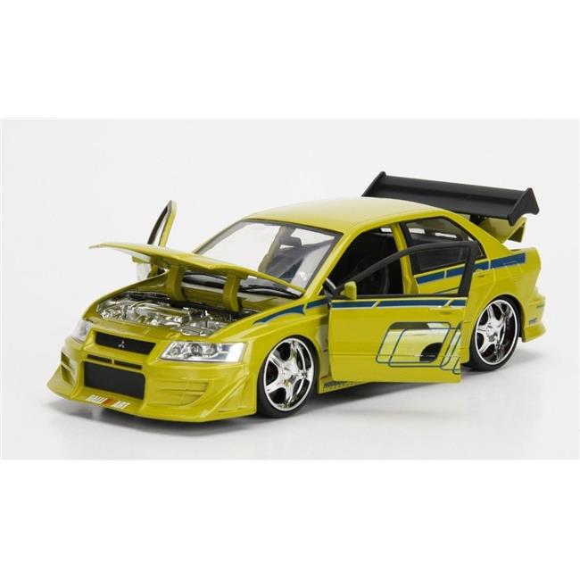 Jada 99788 Brians Mitsubishi Lancer Evolution VII The Fast And The Furious  Movie 1 By 24 Diecast Model Car, Yellow