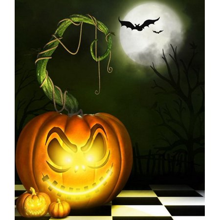 GreenDecor Polyster 5x7ft Spooky Halloween Scary Pumpkins Bats Full Moon Photography Backdrops Indoor Studio Backgrounds Photo Props