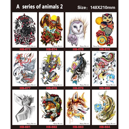 12 Sheets Temporary Tattoos Style Arm Transfer Art Tattoo Stickers Waterproof Animal Style 2