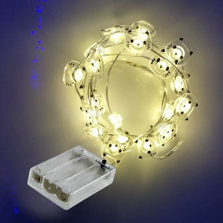 2000mm 20 Bulbs LED Clear Battery Powered Home Wedding Decoration Festoon Party Christmas Tree Garden Yard Fence Lamp Holiday Cat String Lights ()
