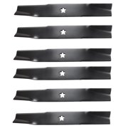 USA Mower Blades U12025BP (6) High-Lift for Husqvarna 539112079 Dixon 10782 10881 Length 18 in. Width 2-1/2 in. Thickness .200 in. Center Hole 5 Point Star 50 in. Deck