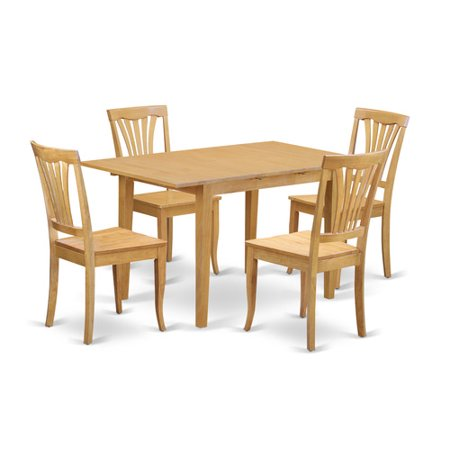 Noav5 oak w 5 piece table and chair set dining table for for Small space table and chair set
