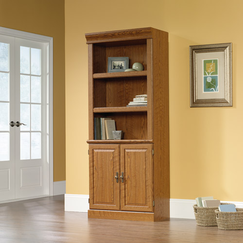 Sauder Orchard Hills Library Bookcase with Doors, Carolina Oak Finish