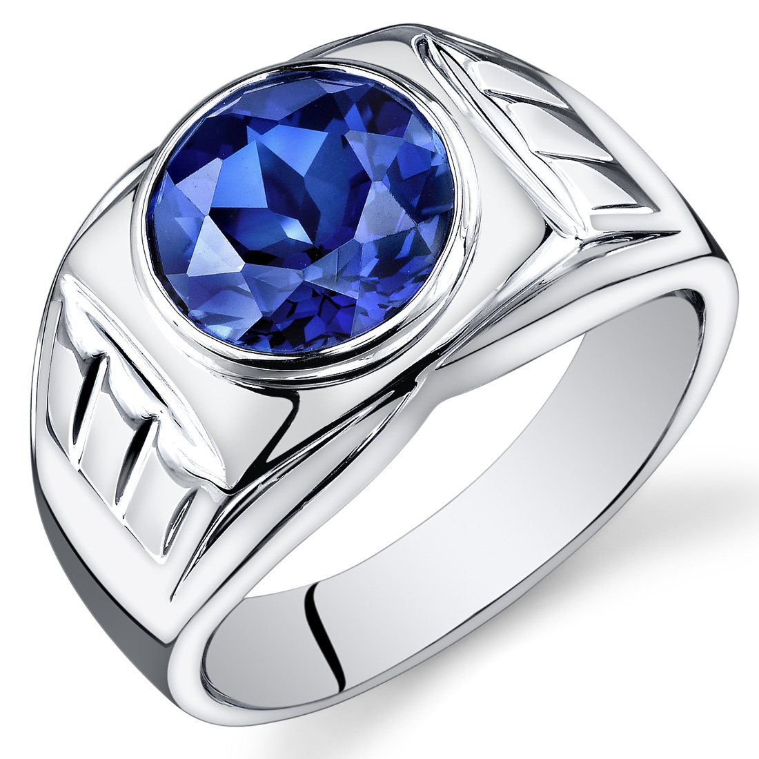 Peora 5.50 Ct Men's Created Blue Sapphire Engagement Ring in Rhodium-Plated Sterling Silver