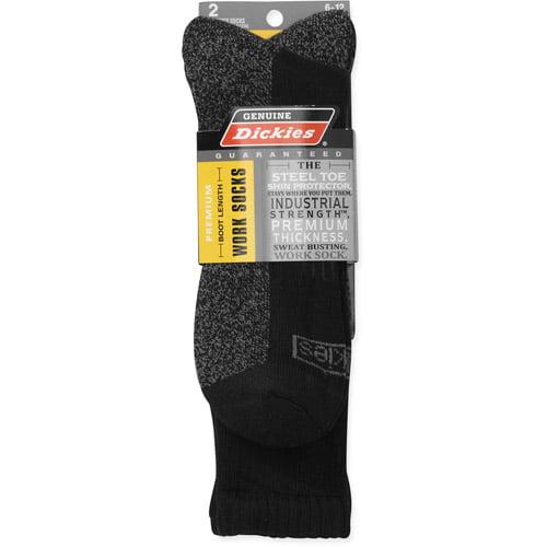 2 Pair Dickies Premium Steel Toe Boot Length Work Sock BLACK Sz 6-12 Black Long
