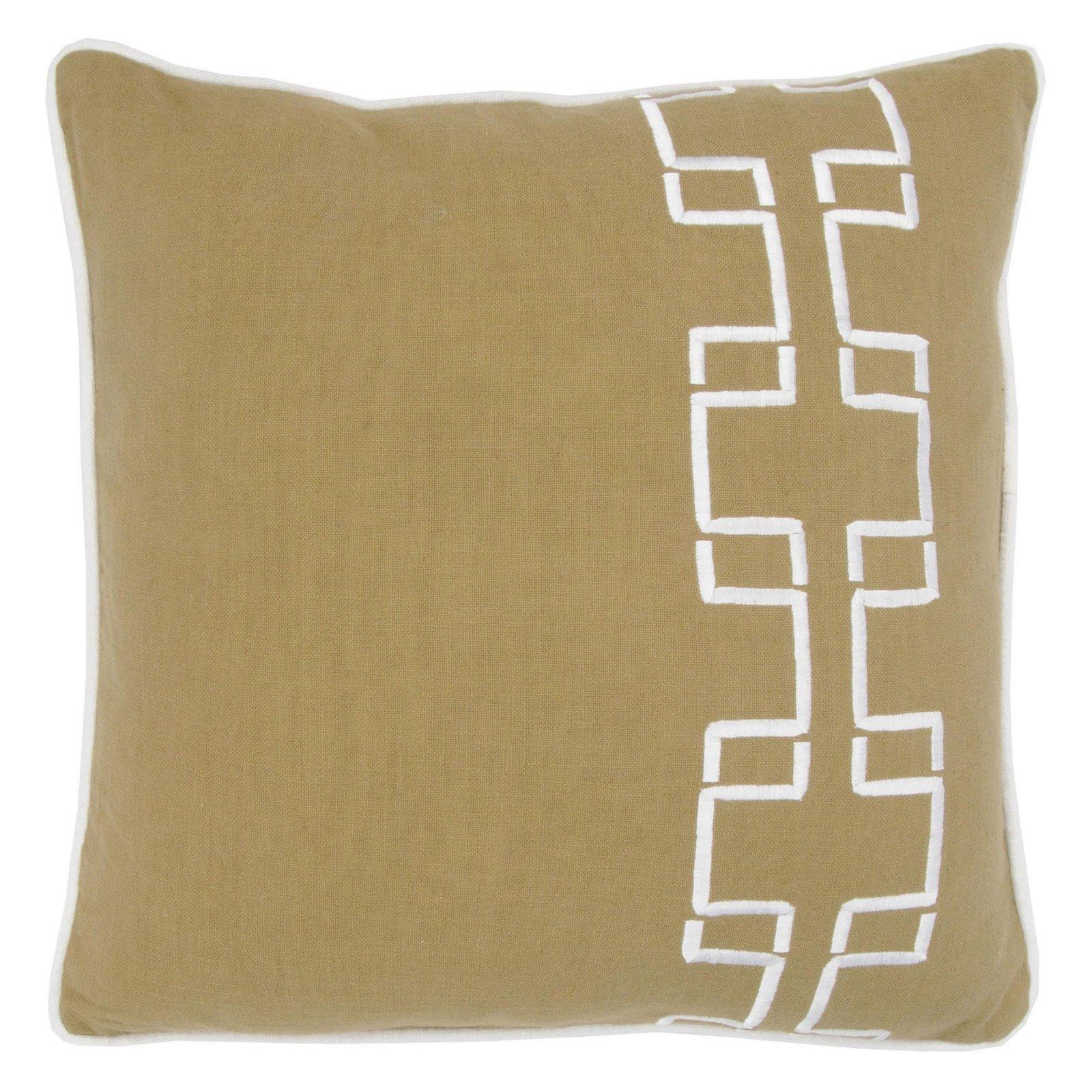 "Rizzy Home Decorative Poly Filled Throw Pillow Geometric Stripe 18""X18"" Khaki"