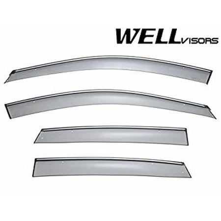 (WellVisors Side Window Wind Deflector Visors - Honda CRV RE7 2007 2008 2009 2010 2011 with Chrome Trim)