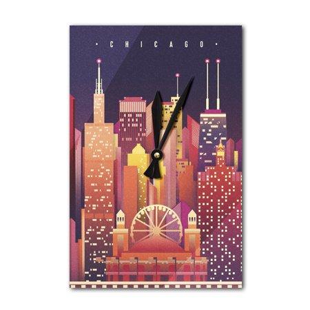 Chicago, Illinois - Neon Skyline - Lantern Press Artwork (Acrylic Wall Clock)