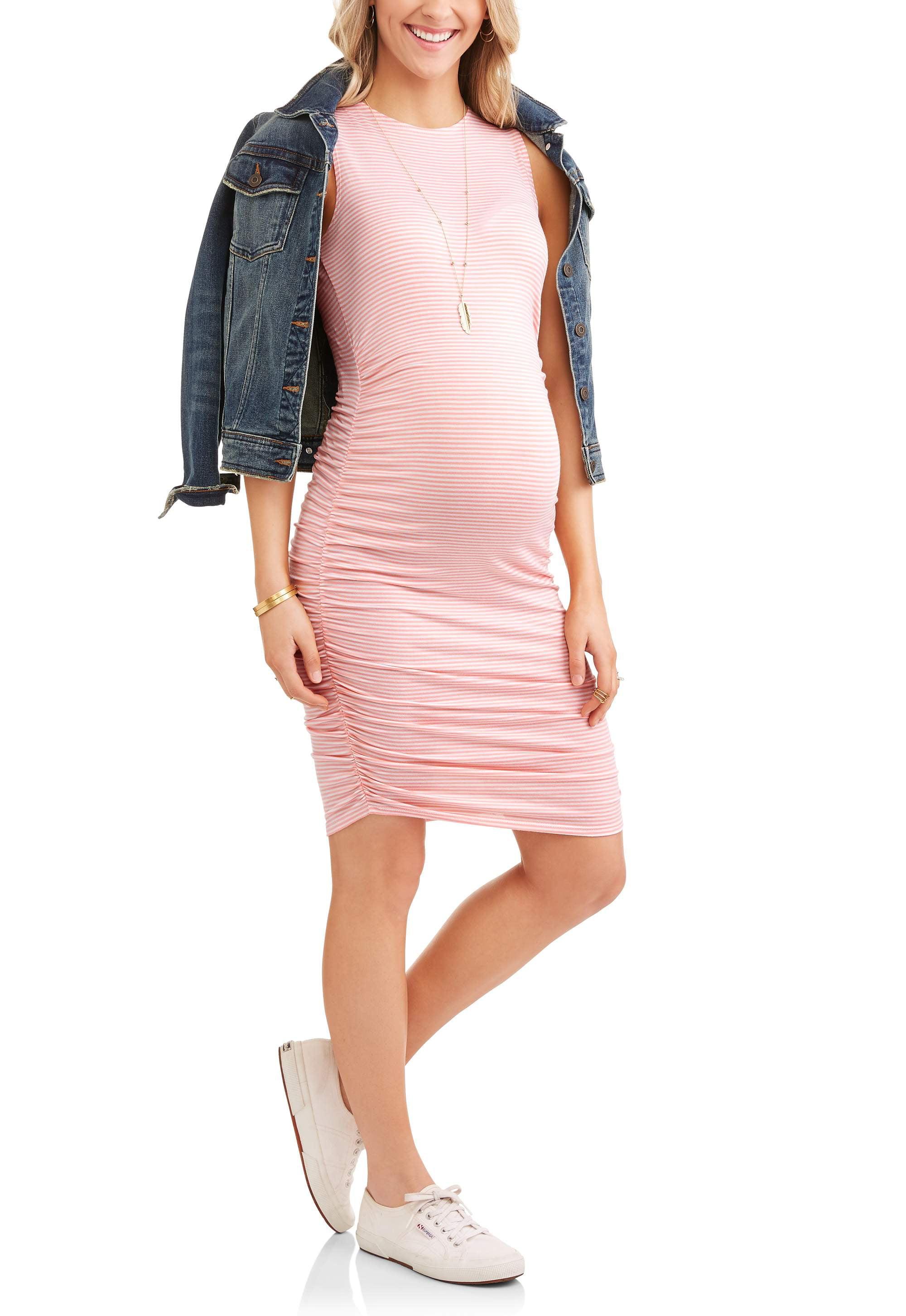 Maternity Sleeveless Stripe Side Ruched Midi Dress by Hot Shot
