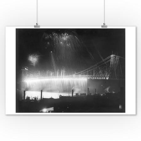 Firework Display at the Opening of the Williamsburg (Brooklyn) Bridge NYC Photo (9x12 Art Print, Wall Decor Travel Poster)](Halloween Displays Nyc)