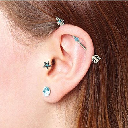 Astonishing Industrial Barbell Tribal Arrow Turquose Aqua Stainless Steel 14G Earrings Piercing Jewelry Set 3 Pieces Pabps2019 Chair Design Images Pabps2019Com