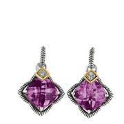 Phillip Gavriel 18k Gold & Sterling Silver Diamond, Amethyst Star Earrings