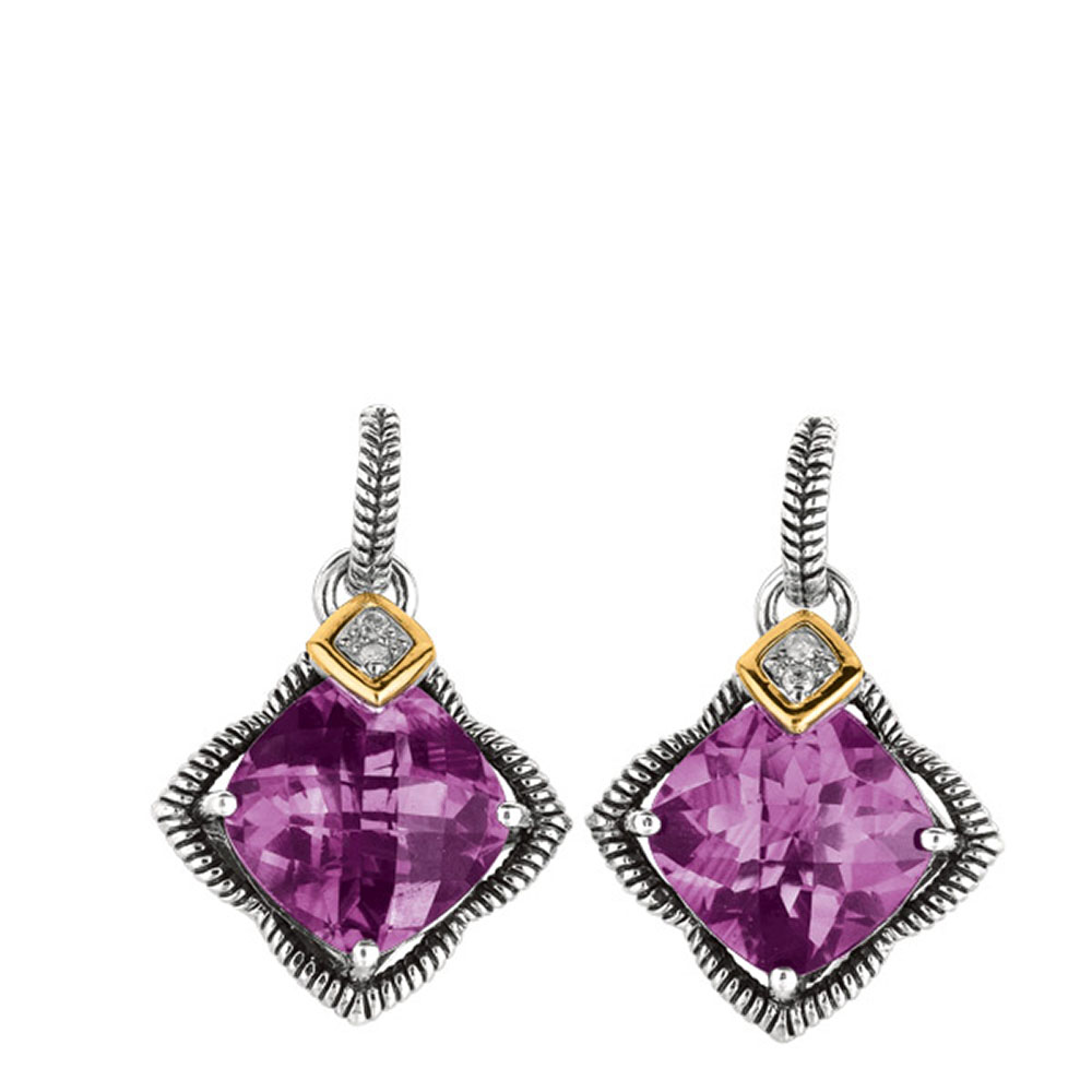 Phillip Gavriel 18k Gold & Sterling Silver Diamond, Amethyst Star Earrings