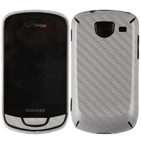 Skinomi Carbon Fiber Silver Skin Cover+Clear Screen Guard for Samsung Brightside