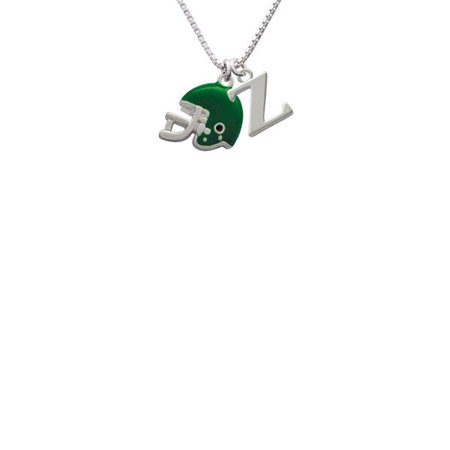 Silvertone Small Green Football Helmet Capital Initial Z Necklace - Small Football Helmets