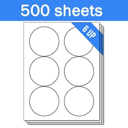 OfficeSmartLabels 3-1/3 inch Round Labels for Laser Inkjet ( 6 Labels Per Sheet, White, 500 Sheets