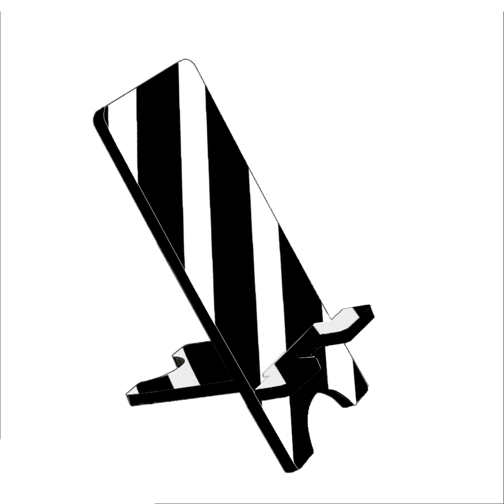 Black White Stripes - KuzmarK Folding Stand fits iPad Mini iPhone Samsung Galaxy