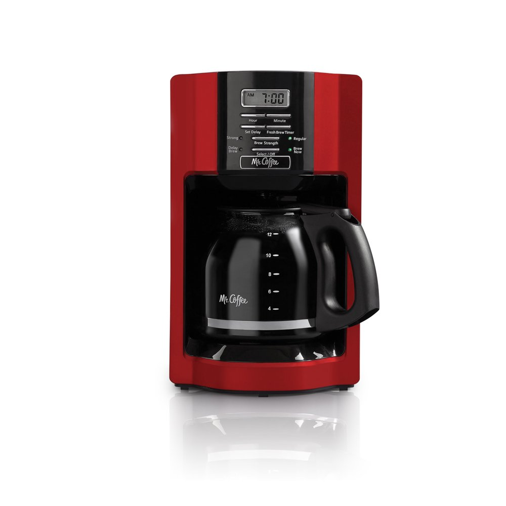 Mr. Coffee 12 Cup Automatic Drip Coffee Maker, Red