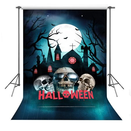 HelloDecor Polyester Fabric 5x7ft Halloween Theme Scary Skeleton Photography Backdrop Photo Studio - Scary Halloween Photography