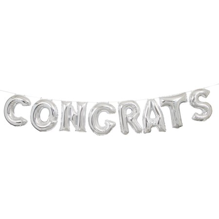 Foil congrats letter balloon banner 9 ft silver 1ct walmart foil congrats letter balloon banner 9 ft silver thecheapjerseys Images
