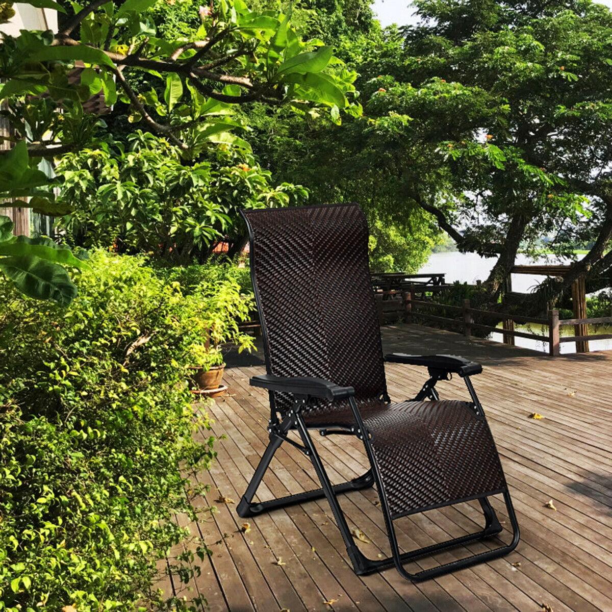 Gymax Patio Rattan Zero Gravity Lounge Chair Folding Recliner Adjustable  W/Headrest