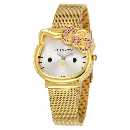 Color Crystal Watch - Kitty Gold Color Metal Watch Hello Kitty Style Design with Crystal Bow Wristwatch,KTG-117