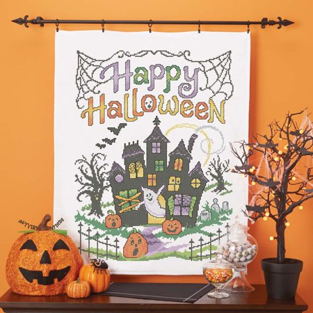 Herrschners® Happy Halloween Lap Quilt Top Stamped Cross-Stitch - Cross Stitch Halloween Magazine 2017