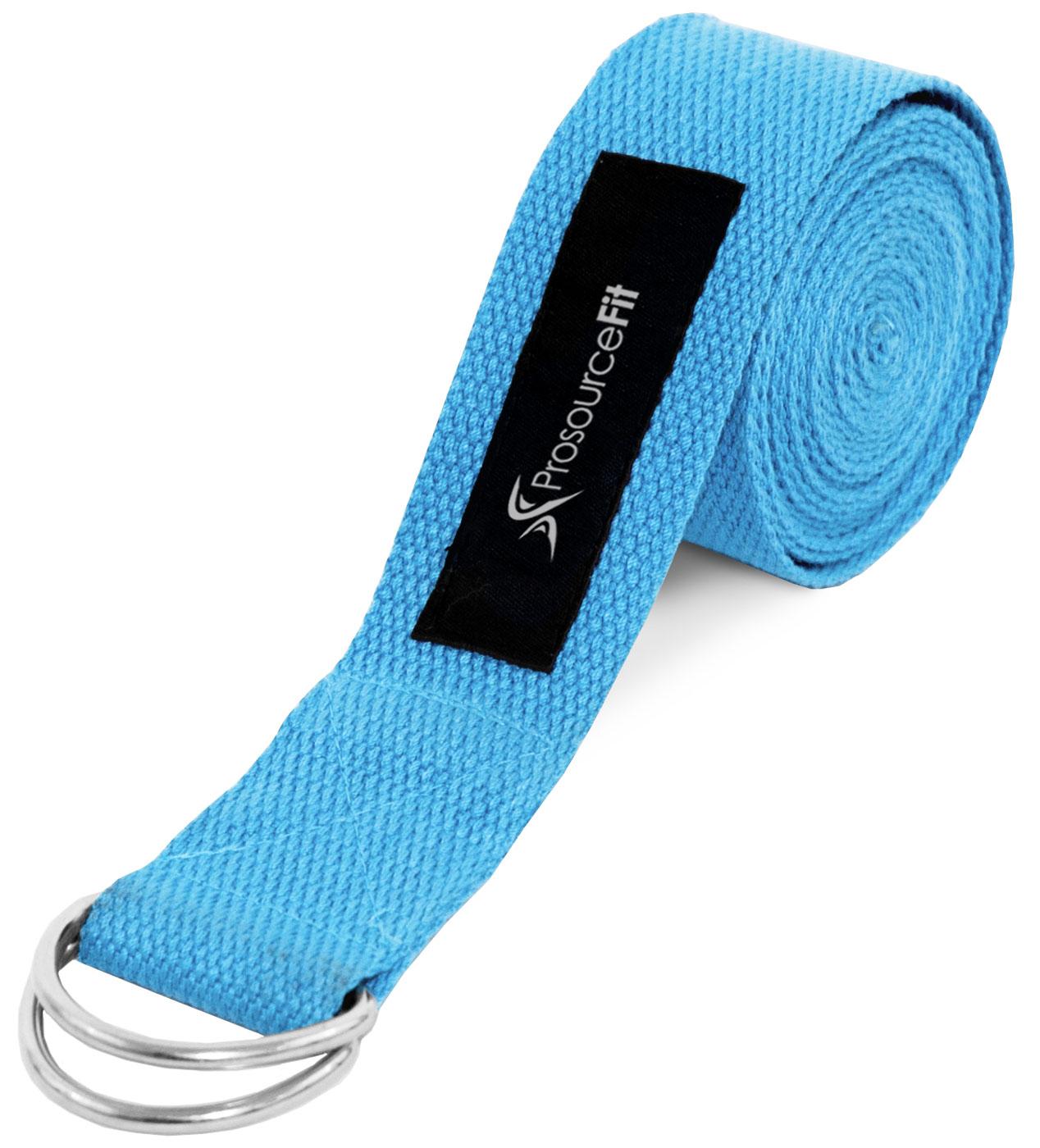 ProsourceFit Metal D-Ring 8 Ft Yoga Strap, Aqua